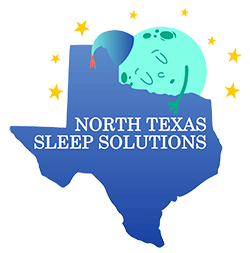 North Texas Sleep Solutions logo, Keller, TX. state of texas with a sleeping moon and stars.