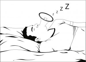 Cartoon illustration of snoring man on bed. He is sleeping and snoring loudly. His mouth look like a megaphone and make a noise